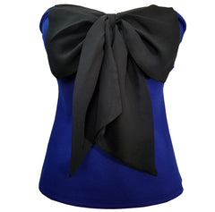 Annette Zilverberg USA  Royal Blue Tube Top Big Chiffon Black Front Bow 80'' Retro S - Cool Hot Fashions