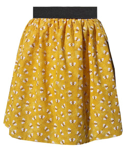 Bumble-Bee Yellow Gathered Elastic waist skirt Retro Pin-up