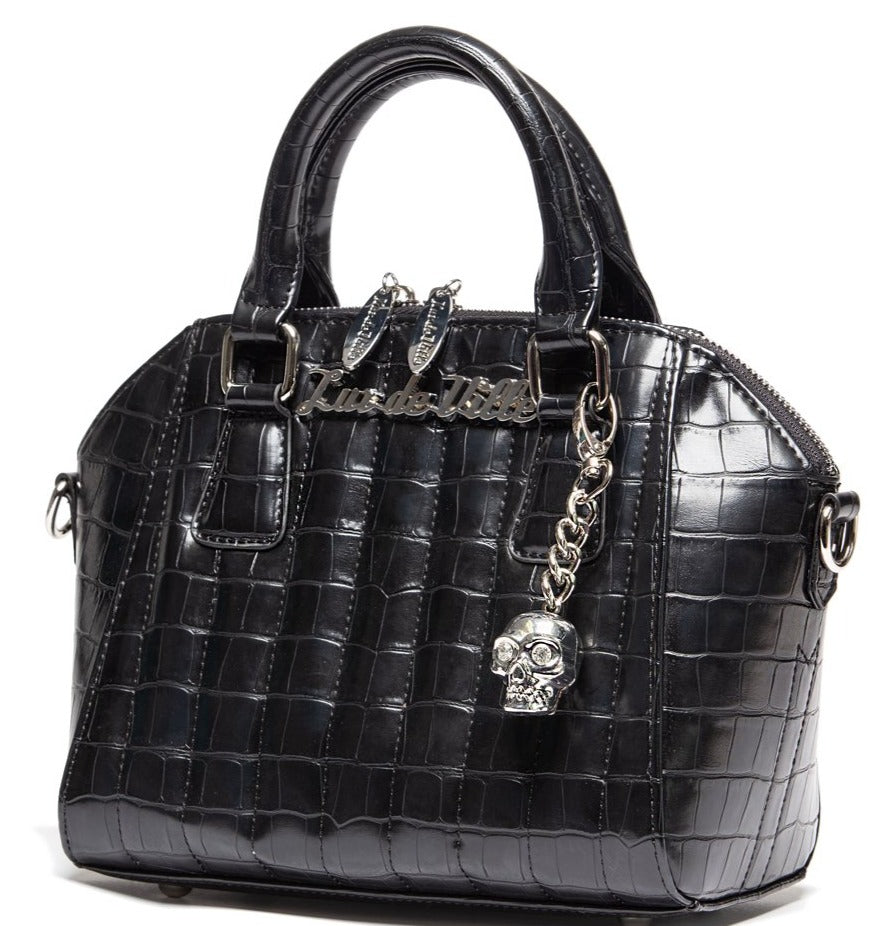 Lux De Ville Black Faux Crocodile Mini Lady Vamp Handbag