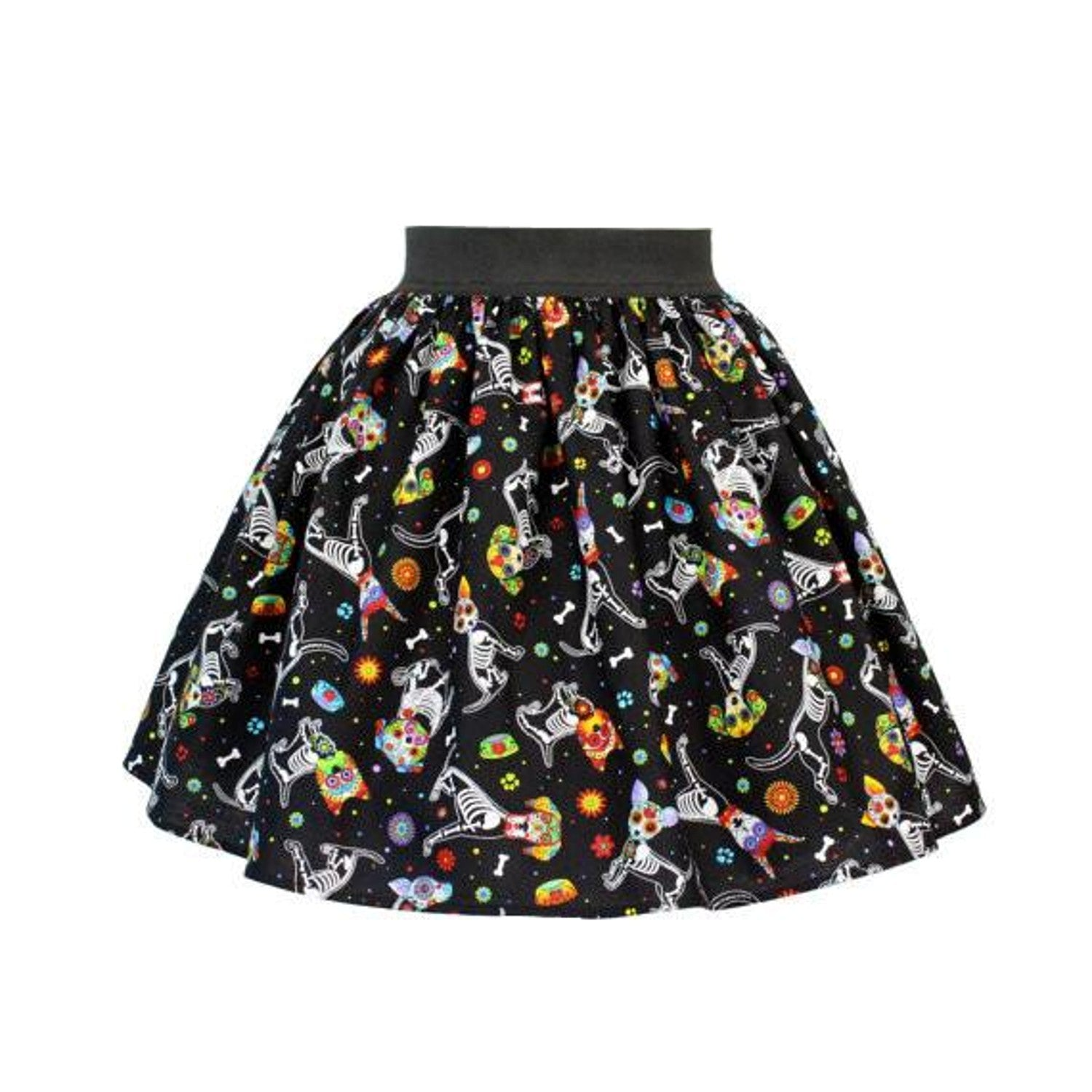Day of the Dead Sugar Skull Dog Paw's Bone's Floral Pleated Skirt 50's pinup - Cool Hot Fashions