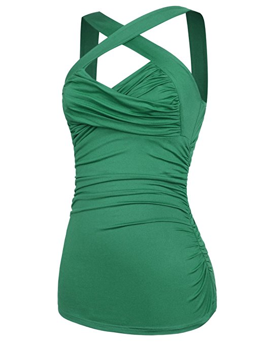 Green Halter Top ruched cocktail Cross Your Heart pinup style - Cool Hot Fashions