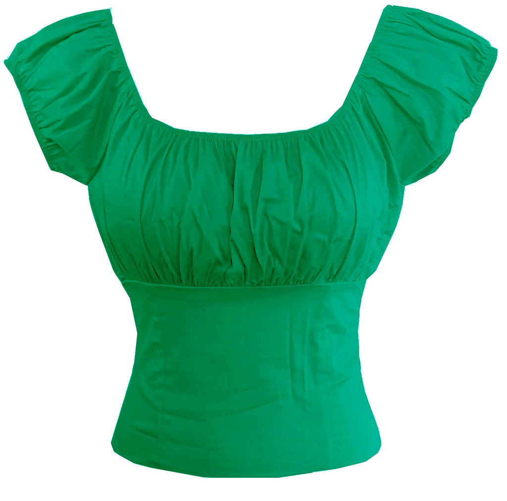 Green Fitted Stretch Sleeve Peasant Top On or off