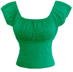 Green Fitted Stretch Sleeve Peasant Top On or off - Cool Hot Fashions