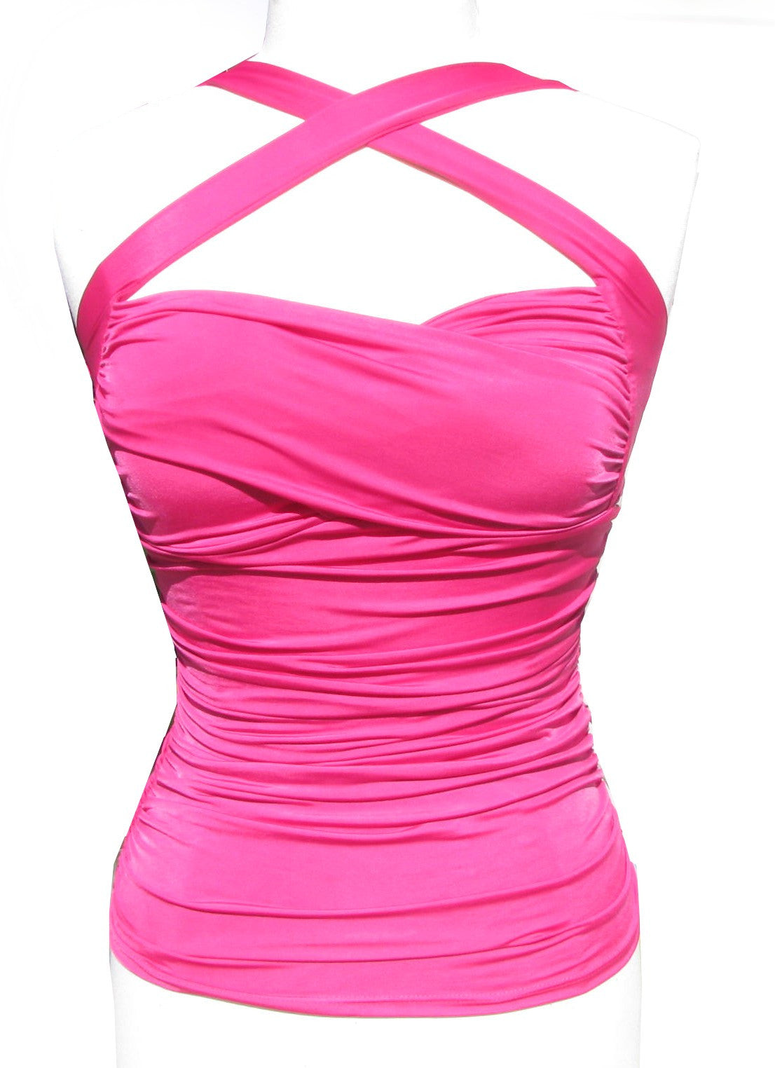 Bright Pink Ruched Halter Top Cross Your Heart pinup style convertible straps - Cool Hot Fashions