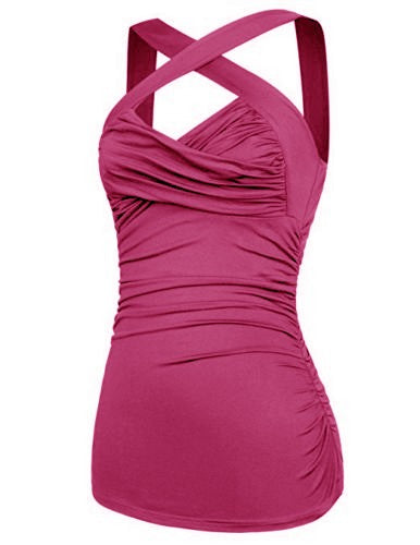 Criss Cross Fuschia Pink twisted Bust Ruched Halter Top