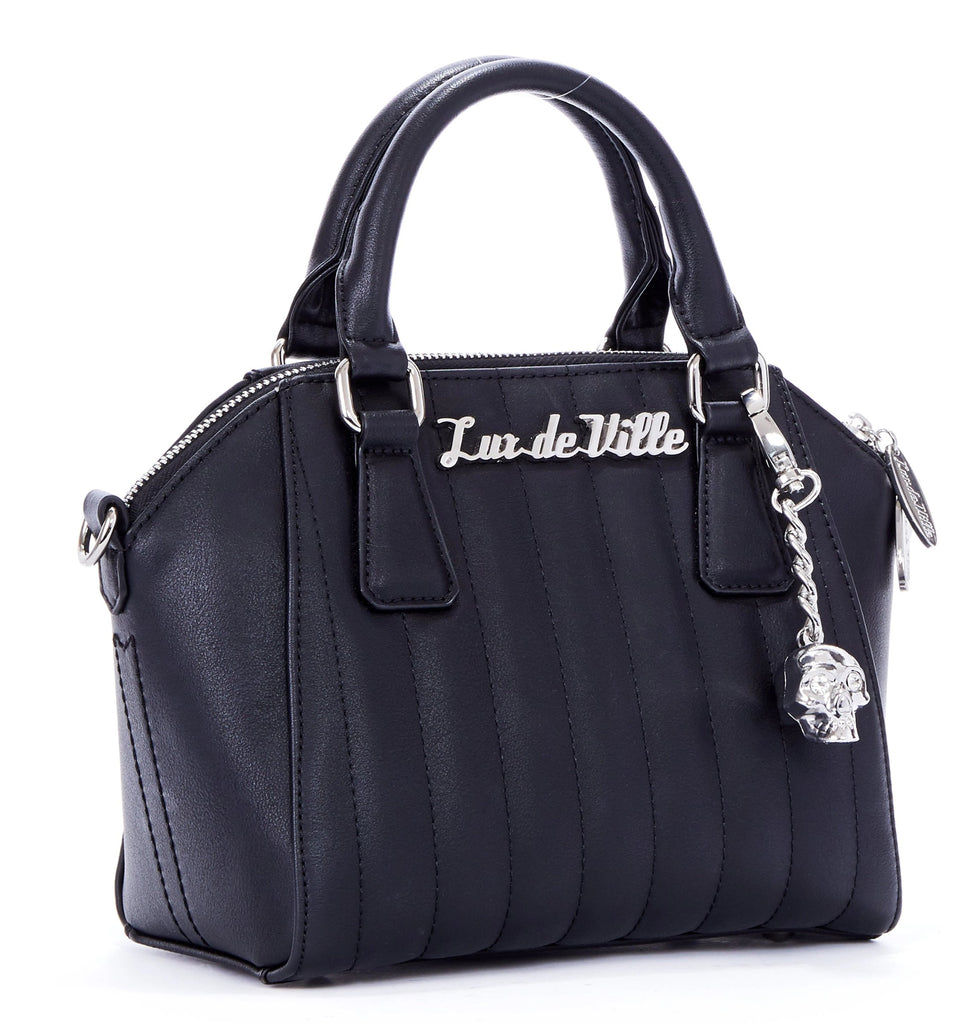 Lux De Ville Purse Bag Mini Lady Vamp Tote Black Matte Retro Biker Skull