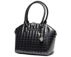 Lux De Ville Black Faux Crocodile Lady Vamp Handbag Large