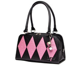 Lux De Ville High Roller Diamond Tote Black Blush Pink Handbag