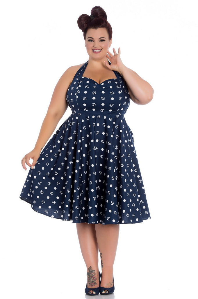 Hell Bunny Marina Blue Halter Anchor Dress Nautical Pin-Up Plus Size