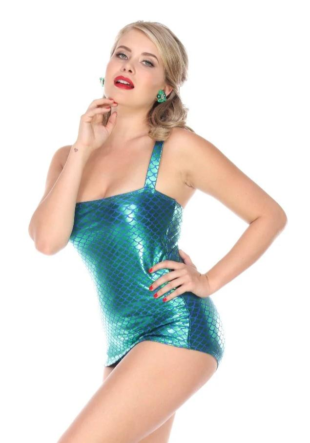 Esther Williams Mermaid Million Dollar Shiny Emerald Green Swimsuit Front skirt pinup 50's
