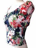 Navy Blue Floral Fitted Smock Peasant Top - Cool Hot Fashions