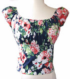 Navy Blue Floral Fitted Smock Peasant Top