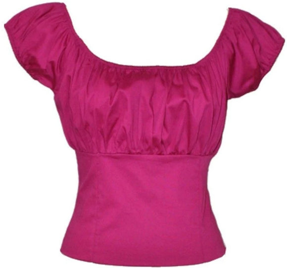 Hot Pink Smock Peasant Top - Cool Hot Fashions