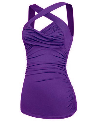 Criss Cross Over Chest Purple Halter Top pinup style Regular & Plus Size - Cool Hot Fashions