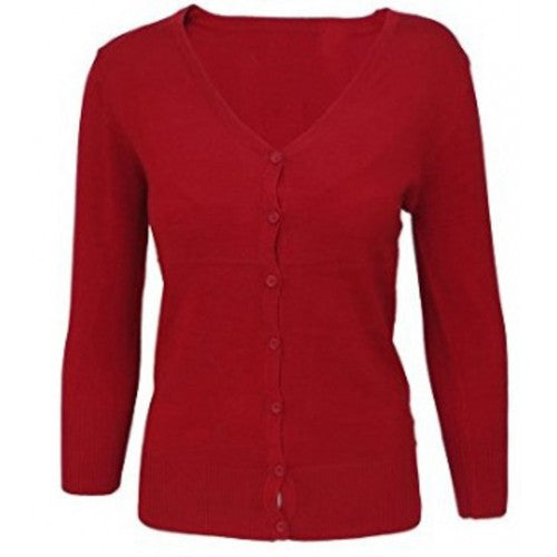 Mak Solid RED V-neck Cardigan Sweater 3/4 Sleeve Retro - Cool Hot Fashions