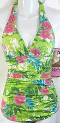 Bettie Page Halter Swimsuit Green & Pink Floral Hawaiian luau Ruched Fitted Sides