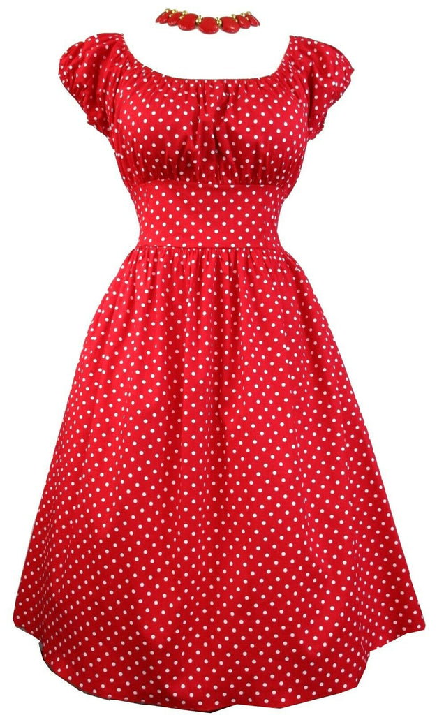 Sara USA RED & White Polka Dot Gypsy Pinup Peasant Dress Boho
