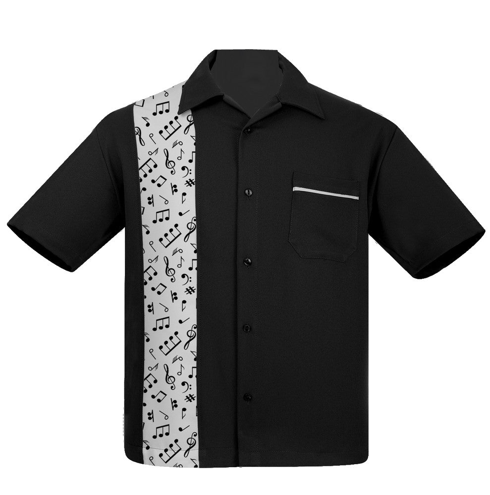 Steady Clothing Music Notes Panel Button Up Music Band Bowling Lounge Shirt