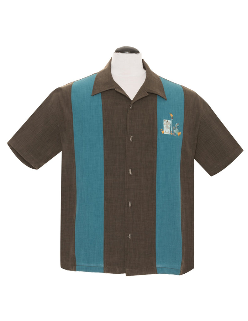 Steady Men's The Mickey Button Up in Coffee Teal Panel Tiki Drinks Torch Retro