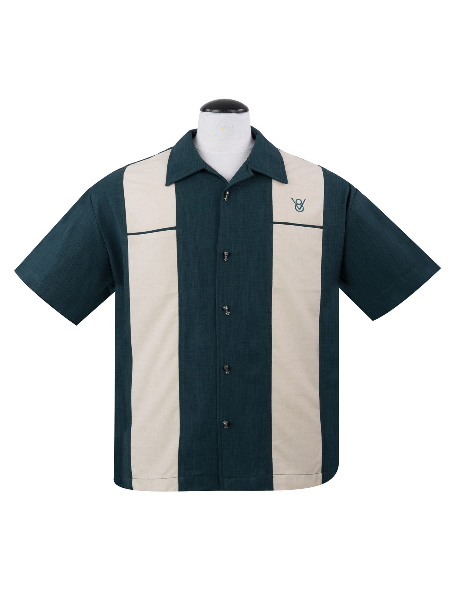 Steady Classy Piston Button Up in Teal Piston Button Embroidered V8 Symbol Retro - Cool Hot Fashions
