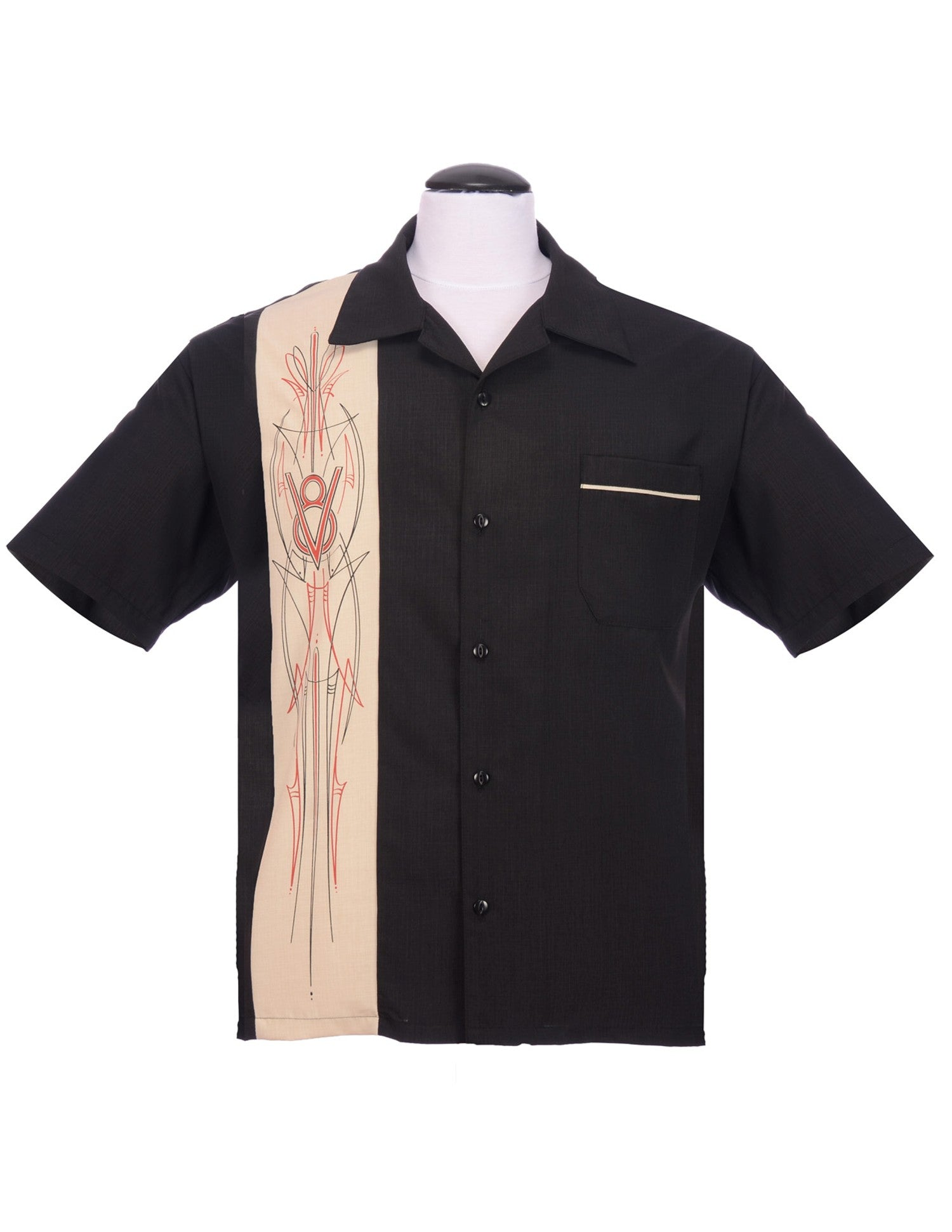 Steady V8 Pinstripe Panel Button Up in Black Stone Hot Rod Bowling Shirt Style