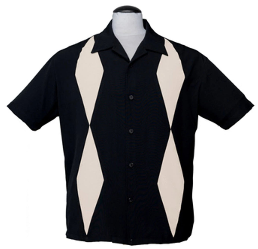 Steady Men's Diamond Duo in Black Ivory Diamond Panels Retro Inspired Shirt