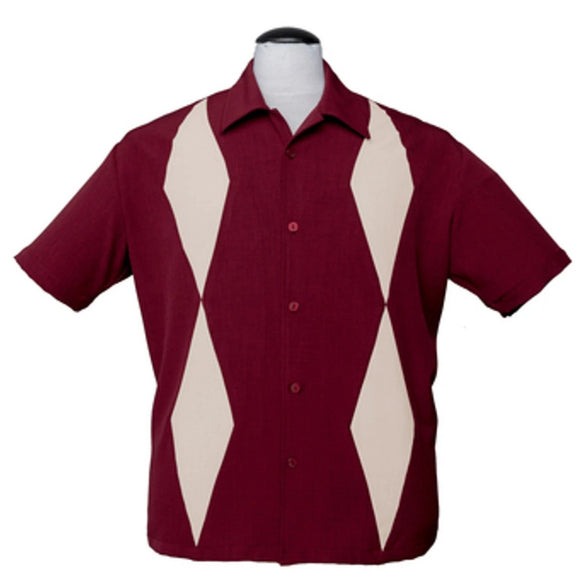 Steady Men's Diamond Duo in Burgundy Ivory Diamond Panels Retro Inspired Shirt