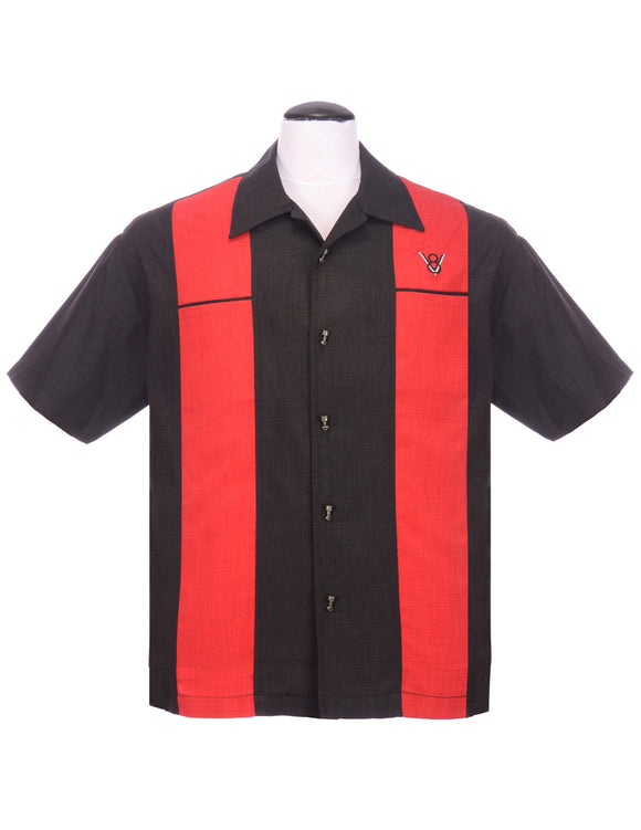 Steady Classy Piston Button Up in Black Red Double Panel V8 symbol Car Lovers