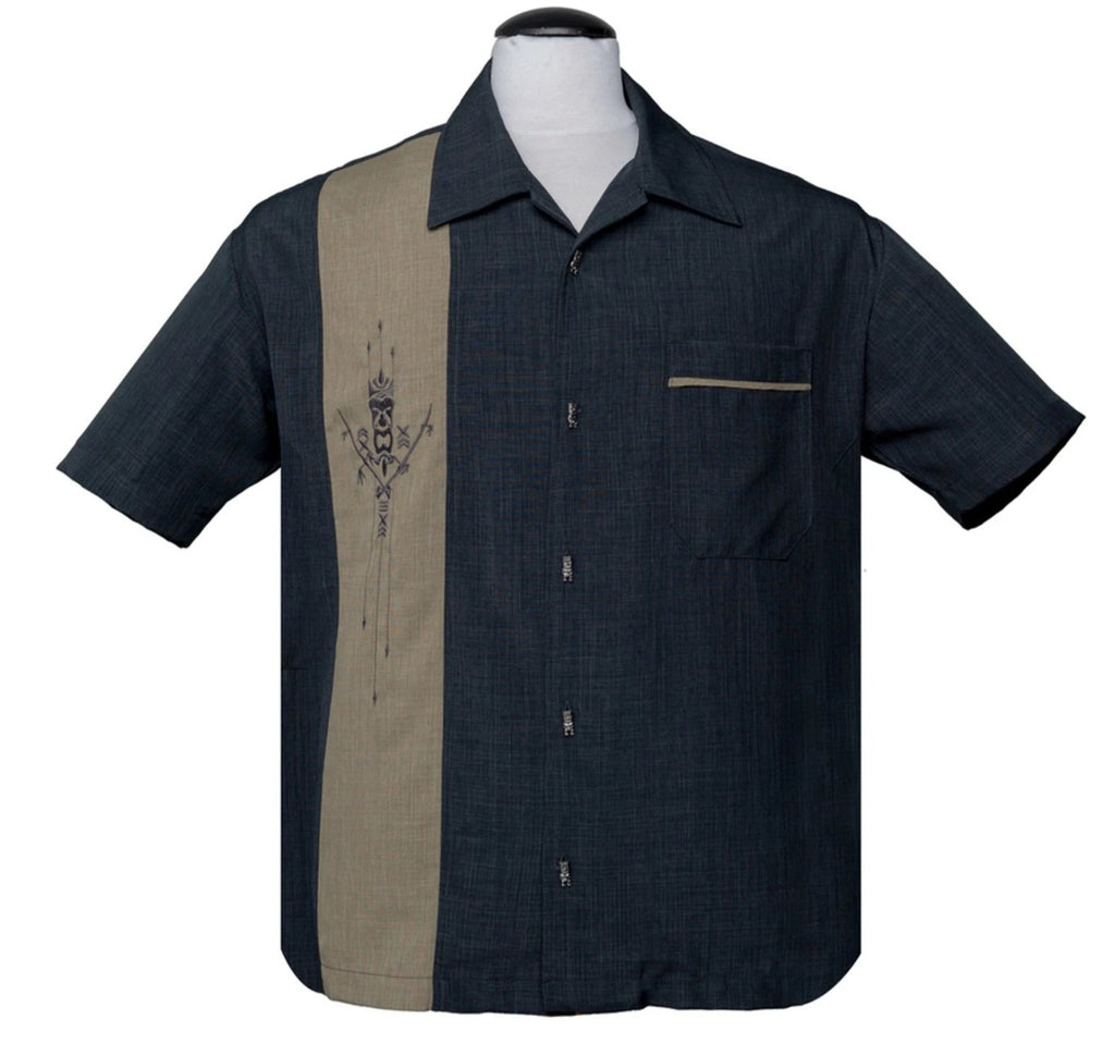 Steady Men's Tiki N Bamboo Charcoal Tiki Totem Embroidery Retro Inspired Shirt