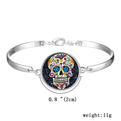 Colorful Sugar Skull Silver Bracelet Calavera Día de los Muertos dearly Departed - Cool Hot Fashions