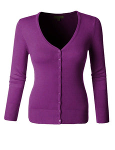 Purple V-neck Cardigan Sweater Top Pinup Retro by Mak - Cool Hot Fashions