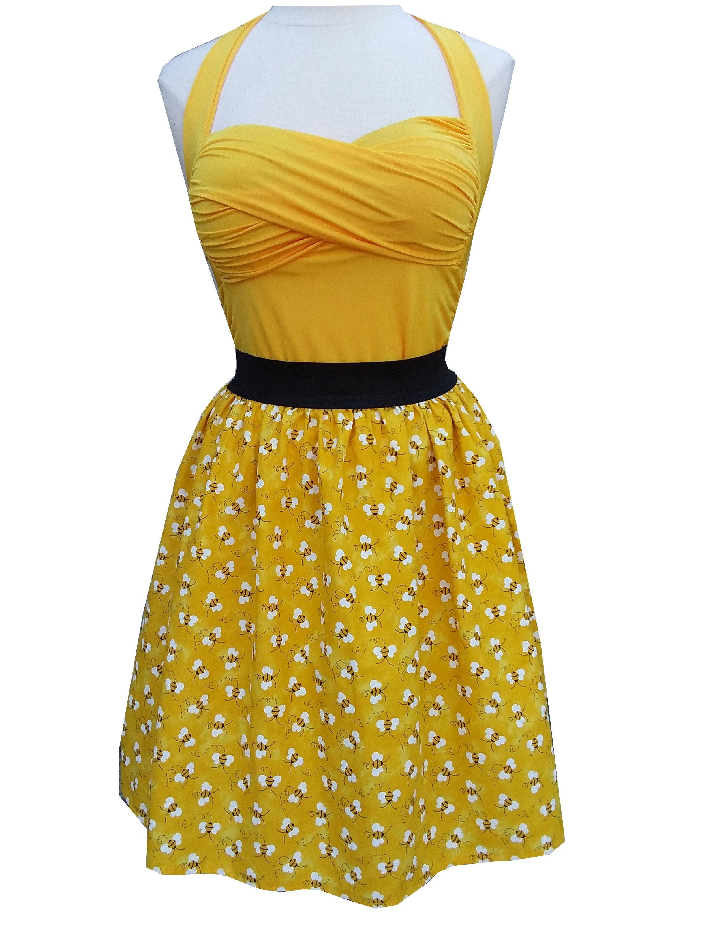 Bumble-Bee Yellow Gathered Elastic waist skirt Retro Pin-up - Cool Hot Fashions