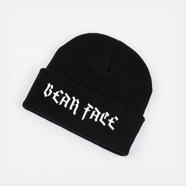 Bear Face Black & White beanie hat with Bear Face Script