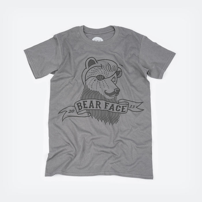 Grey & Black, the original Bare Face logo t-shirt