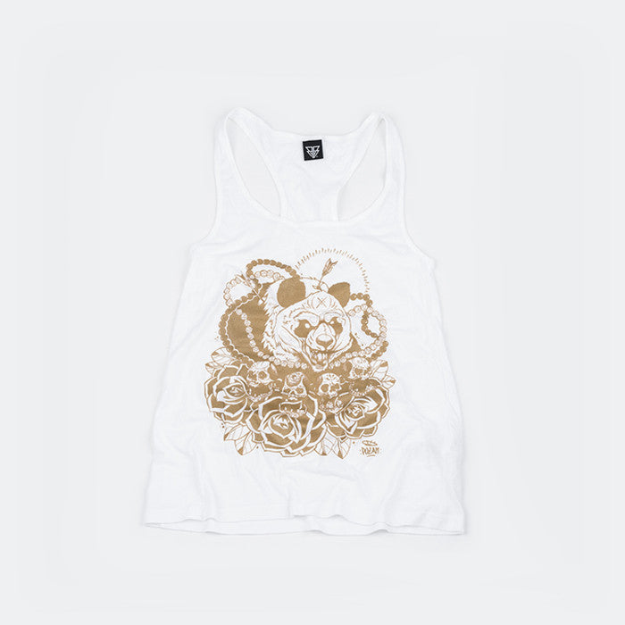 Gold & White vest top by Bear Face family friend and awesome tattoo artist - Pozan.