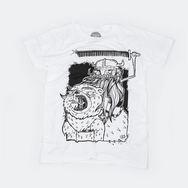 White & Black Bare Face Viking t-shirt