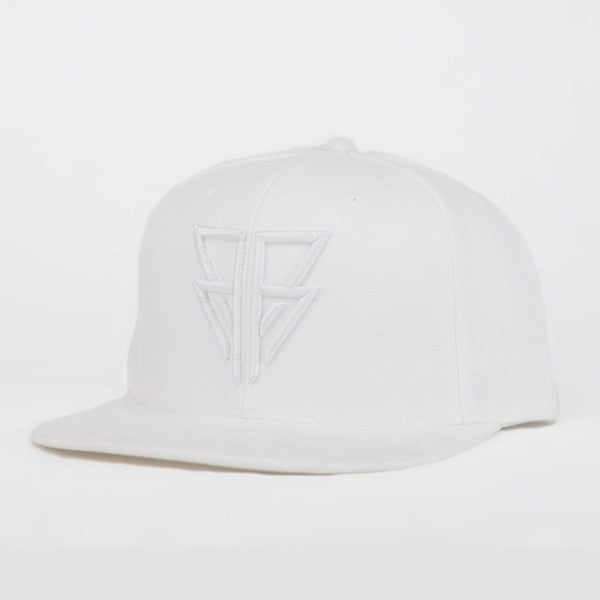 Bear Face White Glyph Snapback with embroidered logo