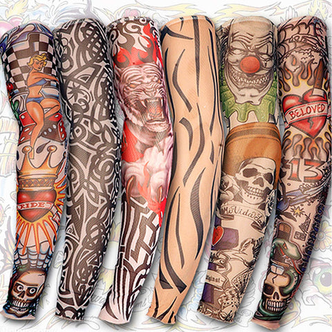 6 Fake Slip On Tattoo Arm Sleeves - Prankkits