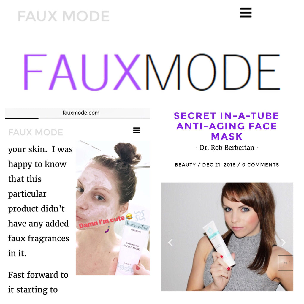 Jess Cunha From FauxMode Shares her love for Secret in-a-Tube Organic Vegan & Cruelty Free Anti-Aging Facial Mask!