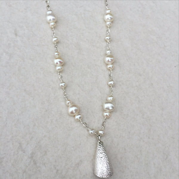 Fresh Water Pearl With Silver Bell Charm N-6