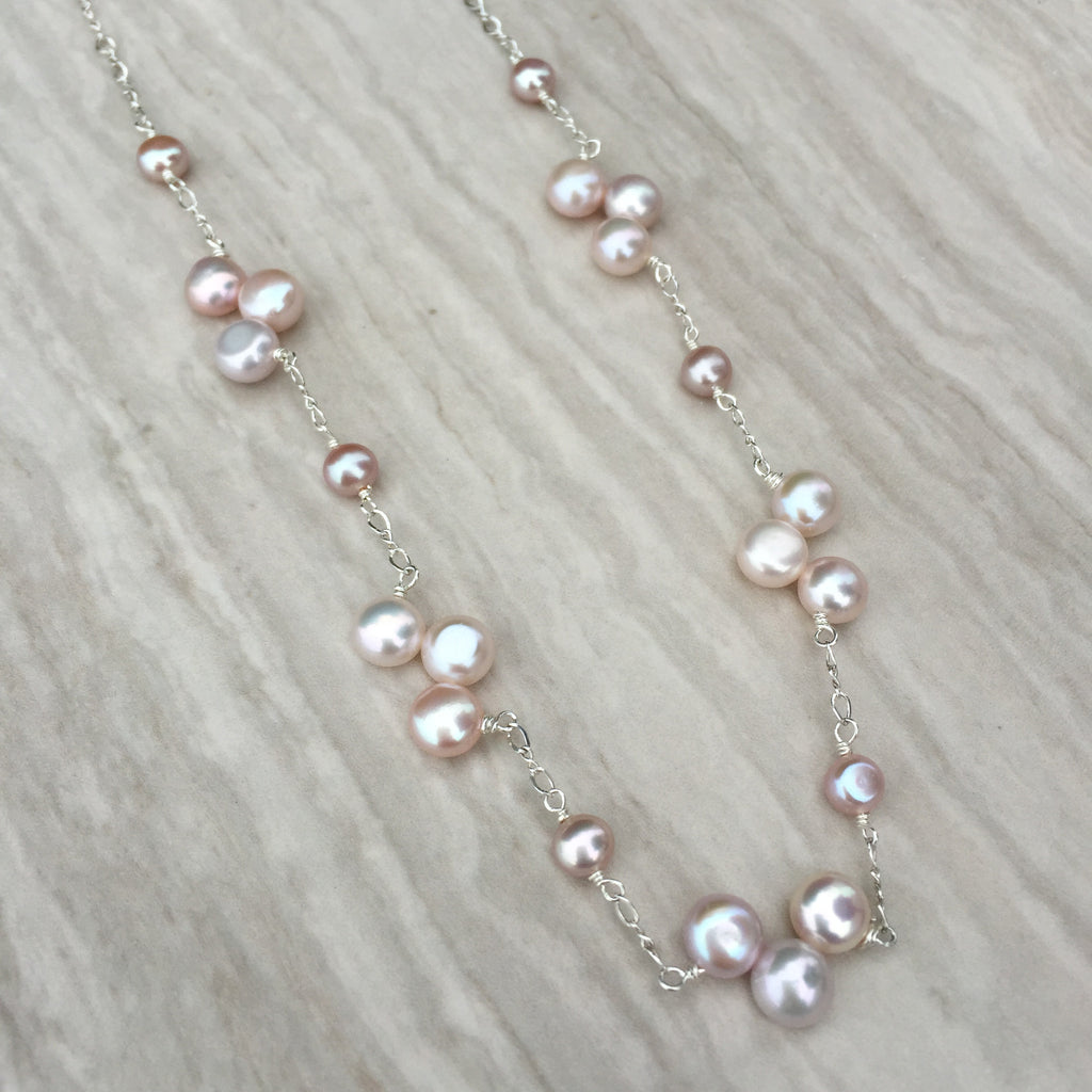 Pink Coin Pearl Sterling Silver Necklace N-8