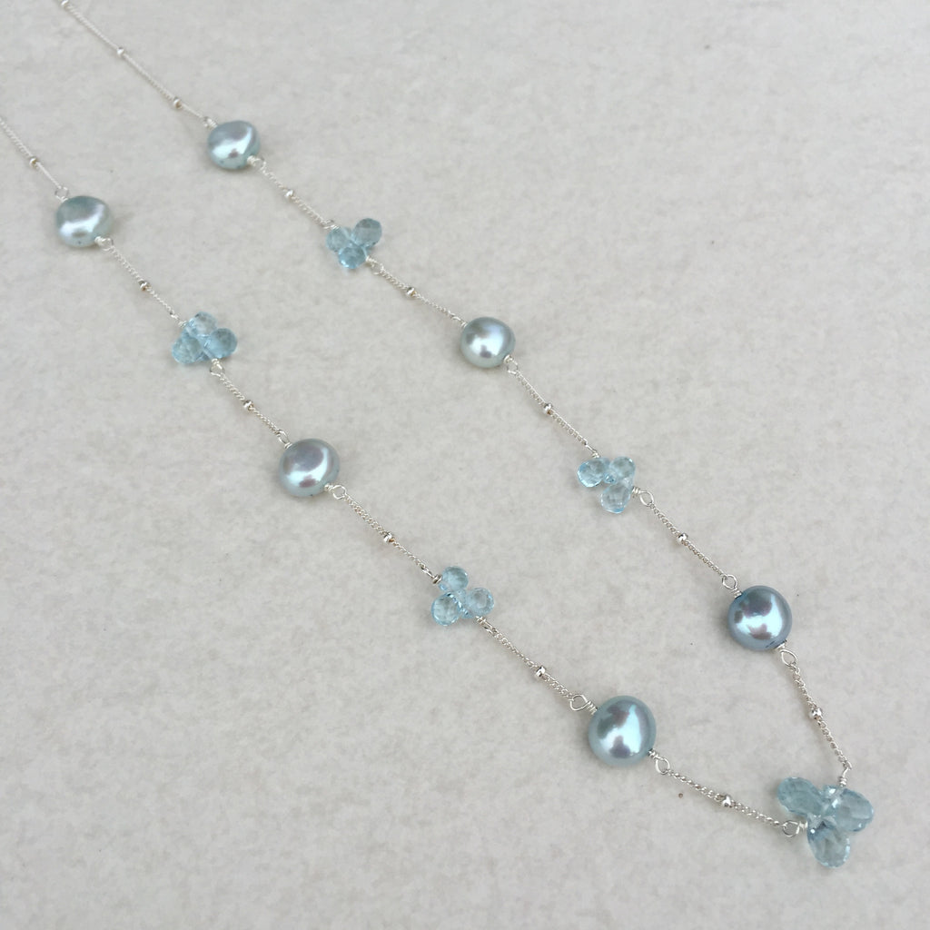 Blue Topaz And Pearl Necklace: Blue Topaz & Blue Pearl Sterling Silver Necklace N-9
