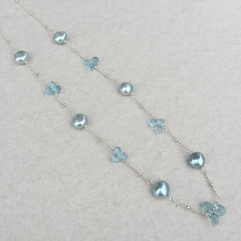 Blue Topaz & Blue Pearl Sterling Silver Necklace N-9
