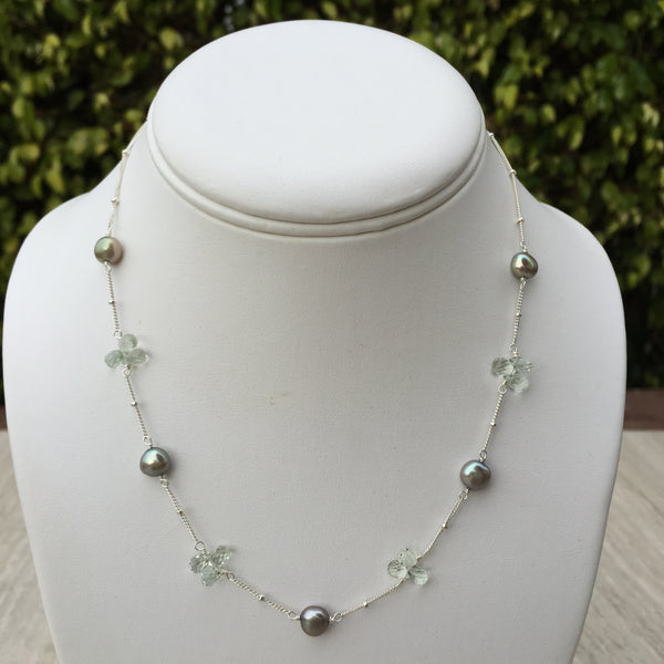 Green Amethyst & Green Pearl Necklace N-10