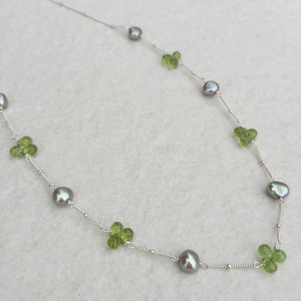 Peridot And Green Pearl Necklace N-11