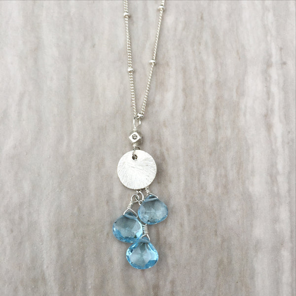 Blue Topaz And Silver Circle Necklace N-7