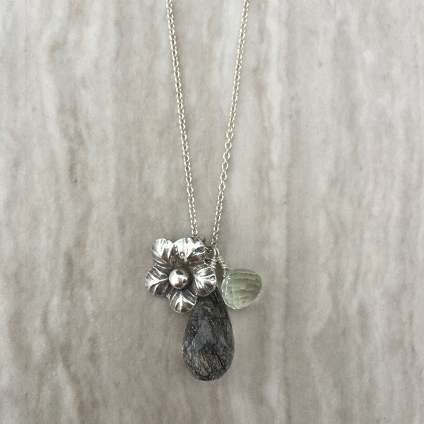 Black Rutilated Quartz And Green Amethyst N-5