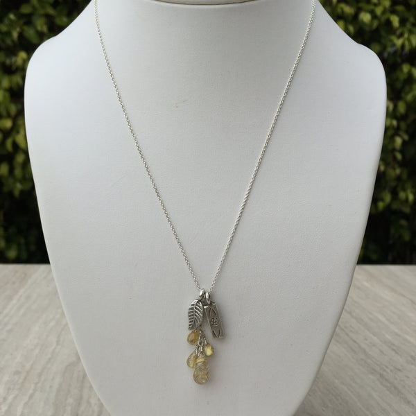 Gold Rutilated Quartz Silver Necklace N-4