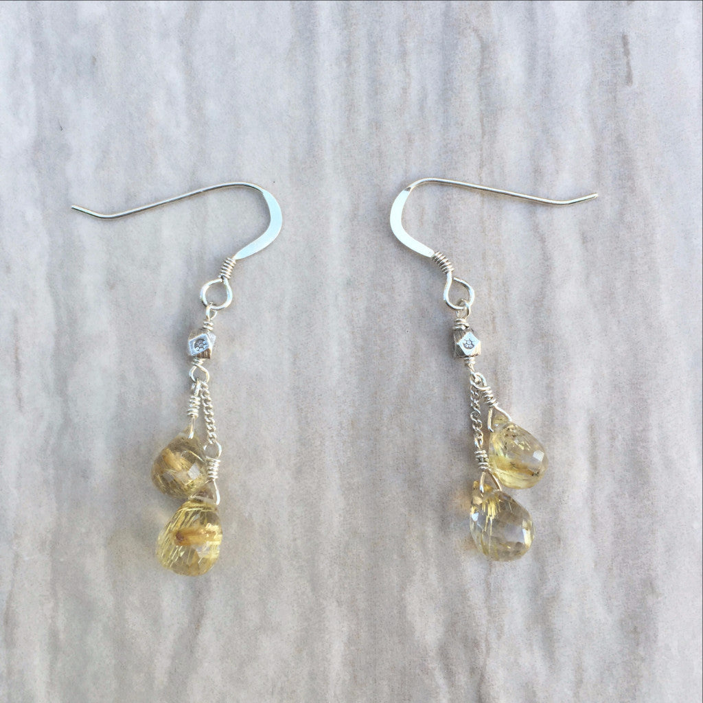 Golden Rutilated Quartz Earrings E-3