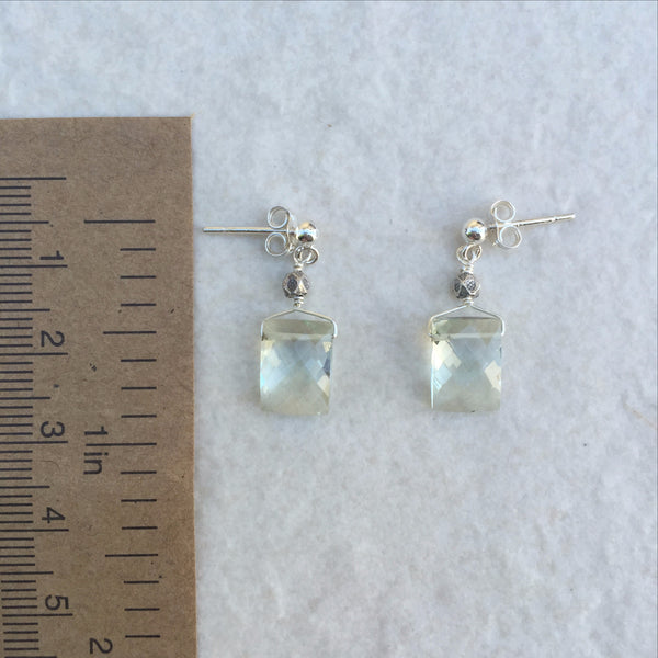 Green Amethyst Rectangular Earrings E-5